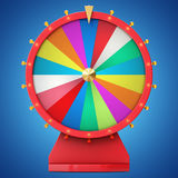 Realistic spinning fortune wheel, lucky roulette. Colorful wheel of luck or fortune. Wheel fortune isolated on blue tint. Background. 3d illustration Stock Photography