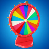 Realistic spinning fortune wheel, lucky roulette. Colorful wheel of luck or fortune. Wheel fortune isolated on blue tint. Background. 3d illustration Stock Images