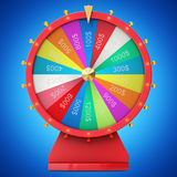 Realistic spinning fortune wheel, lucky roulette. Colorful wheel of luck or fortune. Wheel fortune isolated on blue tint Stock Image