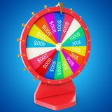 Realistic spinning fortune wheel, lucky roulette. Colorful wheel of luck or fortune. Wheel fortune isolated on blue tint. Background. 3d illustration Stock Photo