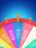 Realistic spinning fortune wheel, lucky roulette. Colorful wheel of luck or fortune. Wheel fortune isolated on blue tint. Background. 3d illustration Royalty Free Stock Images