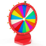 Realistic spinning fortune wheel, lucky roulette. Colorful wheel of luck or fortune. Wheel fortune isolated on white, 3d. Realistic spinning fortune wheel, lucky stock illustration