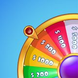 Realistic spinning wheel of fortune . Royalty Free Stock Image