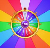 Realistic spinning wheel of fortune . Stock Photo