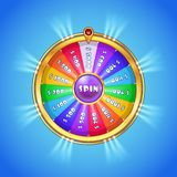 Realistic spinning wheel of fortune . Stock Photography