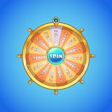 Realistic spinning wheel of fortune . Royalty Free Stock Photo