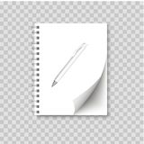 Realistic spiral notepad blank with cornered sheet of paper and pen mock up. Vector Stock Photos