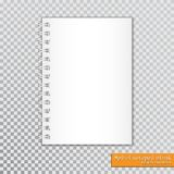 Realistic spiral notepad blank on transparent background. Vector.  stock illustration