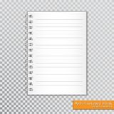 Realistic spiral notepad blank on transparent background. Vector.  Stock Photography