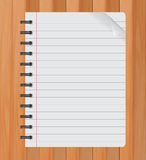 Realistic spiral notepad notebook  on wood vector, Paper sheet Royalty Free Stock Photography