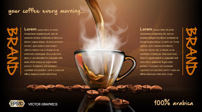 Realistic splash flowing coffee Mockup template for branding, advertise and product designs. Fresh steaming hot drink in Stock Photos