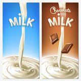 Realistic splash flowing milk or cocoa with chocolate pieces in the blue and brown background.  vector design elements.  Stock Photography