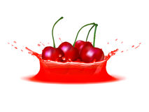 Realistic splash of juice with cherries. Vector icon. Template for your design.  stock illustration