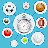 Realistic Sport balls and stopwatch with markers Royalty Free Stock Photo