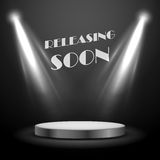 Realistic Spot Light Effect Releasing Soon Poster Royalty Free Stock Photography