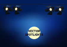 Realistic Spotlights. Light Effect. Scene, Studio, Show.  Vector Illustration. Stock Images