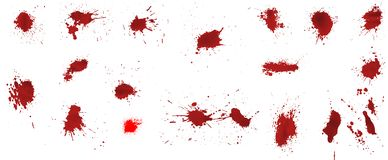 Realistic spots of red paint or blood stock illustration