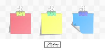 Realistic square paper stickers with rolled edges royalty free stock photos