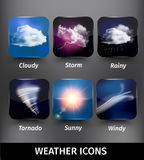 Realistic Square Weather Icon Set Royalty Free Stock Image