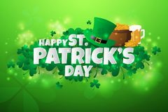 Realistic St. Patrick`s day background and banner Royalty Free Stock Images
