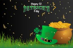 Realistic St. Patrick`s day background and banner Stock Image