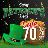 Realistic St. Patrick`s day background and sale banner Royalty Free Stock Image