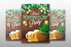 Realistic St.Patrick`s day party invitation background templat Stock Images