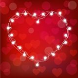 Vector realistic st. valentine`s lantern garland on red background. st. valentine`s card Stock Images