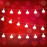 Vector realistic st. valentine`s lantern garland on red background. st. valentine`s card Royalty Free Stock Images