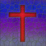 Realistic stained glass cross window panel Stock Image