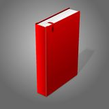 Realistic standing red blank hardcover book with. Red bookmark. Isolated on grey background for design and branding. Vector illustration Royalty Free Stock Photography
