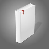 Realistic standing white blank hardcover book with. Red bookmark. Isolated on grey background for design and branding. Vector illustration Royalty Free Stock Photo