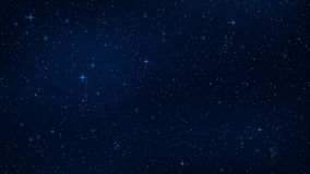 A realistic starry sky with a blue glow. Shining stars in the dark sky. Background, wallpaper for your project. Vector illustratio. N. EPS 10 Royalty Free Stock Image