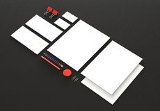 Realistic Stationery Mockups Set. Letterhead, name card, envelope, presentation folder. 3d render stock illustration