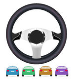 Realistic steering wheel and set of back of cars in vector on wh Stock Photo