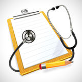 Realistic stethoscope and notes Stock Photos