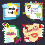 Realistic sticky notes sheets with stickers, sample text and decorative elements. Paper reminders hanging with adhesive Stock Image