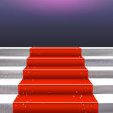 Realistic stone ladder with red carpet frame Royalty Free Stock Images