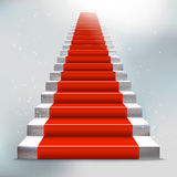 Realistic stone ladder with red carpet and light Stock Photos