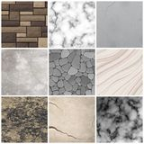 Realistic stone texture patterns collection. Realistic cladding stone marble and rectangular tiles texture interior design decoration patterns samples collection Stock Image