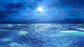 Realistic Stormy Sea at Night, Abstract Loopable Background