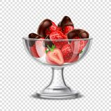 Realistic Strawberry In Chocolate Composition Stock Image