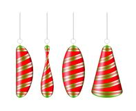 Realistic striped Christmas ball. New year toy stock illustration