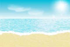 Summer beach landscape. Vector background. Realistic summer beach landscape. Vector illustration. Sea and sky, sunny day. Paradise background Royalty Free Stock Photo