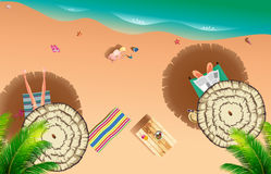 Realistic summer beach of sea side Stock Image