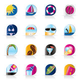 Realistic Summer and Holiday Icons Stock Images