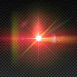 Realistic sun burst with flare. Lens flare illustration  on transparent grid Royalty Free Stock Photo