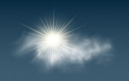Realistic sun with clouds isolated on a transparent background. Sunlight. Sun rays. Transparent clouds. Vector illustration. EPS 10 stock illustration