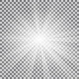 Realistic sun rays light effect on a transparent background Stock Photos