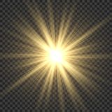 Realistic sun rays. Yellow sun ray glow abstract shine light effect starburst sbeam sunshine glowing isolated image vector illustration
